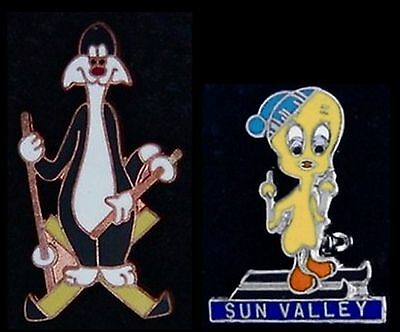 Set of 2 ~Sylvester Skiing~Tweety Bird Skiing Sun Valley Pin~vintage cloisonné