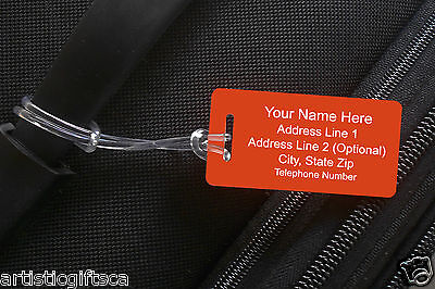 2 Personalized Plastic Luggage/Sport/ID Tags 31 Colors. Free Engraving Shipping