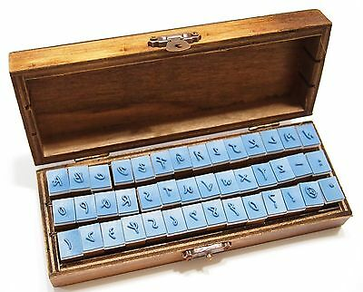 ANTIQUE Alphabet Handwriting UPPERCASE + Numbers Rubber Stamp w/ Wooden Box