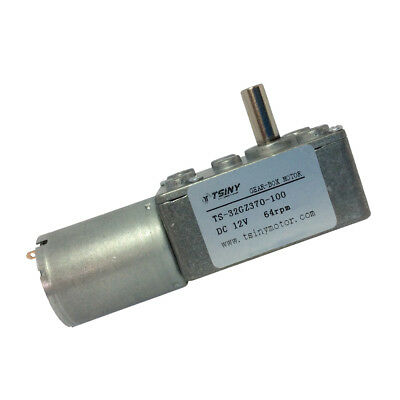 12V 64RPM Worm Gear Motor With Gear Reducer Box Right Angle 370 Gear Reversible