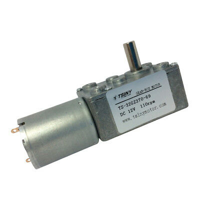 12Vdc 110rpm DC Small Worm Gear Motor Right Angle Reversible 370 Motor