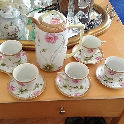 Antique Nippon Chocolate Pot With Five Matching Cups Saucers Very Old Charming