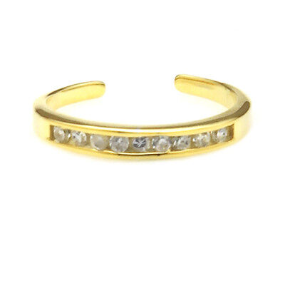 14K Gold over Sterling Silver Channel-Set CZ Toe Ring