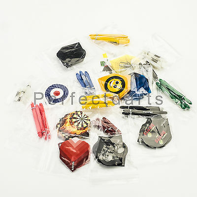 60 DARTS FLIGHTS + 60 DARTS STEMS SHAFTS MIXED COLOURS AND SIZES - 40 sets total