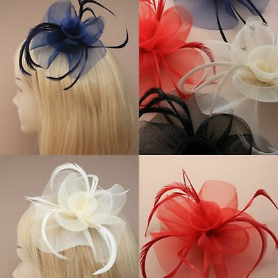 Ladies Looped Net Feather Fascinator Beak Clip Weddings Ladies Day Races