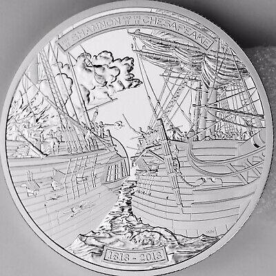 2013 $50 Shannon vs. Chesapeake, 5 Troy oz. Pure Silver Proof Coin, War of 1812