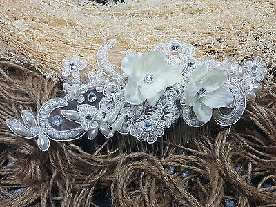 Ivory Lace Bridal Wedding Hair Comb Clip Bride Party Flower Fascinator Headpiece