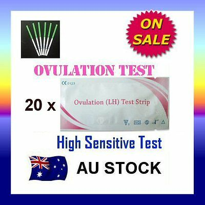20 x Ovulation (LH) Test Strips Urine Fertility Kit OPK High Sensitive