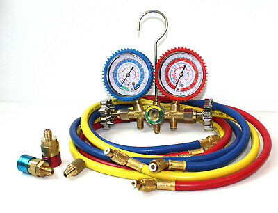 "HVAC R12 R22 R502 R134a A/C DIAGNOSTIC MANIFOLD GAUGE KIT W/3x 60"" CHARGING HOSE"