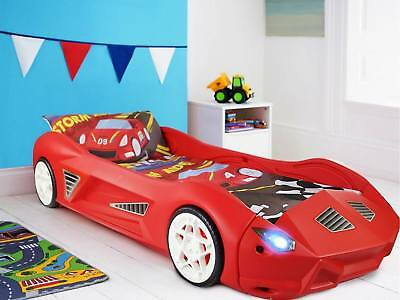 Kids Racing Car Bed Childrens Toddler Junior Bed with Optional Lights and Sounds