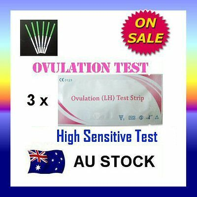 3 x Ovulation (LH) Test Strips Urine Fertility Kit OPK High Sensitive