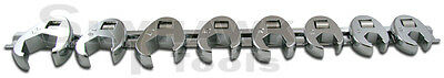 8PC 3/8 DRIVE FLARE NUT CROWFOOT WRENCH SET with Holder- Metric