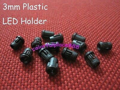 500pcs, 3mm Black Plastic LED Holder Holders Clips Bezel Bezels Mounts New
