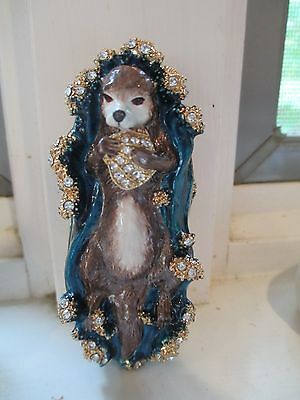 Sea Otter~ Bejeweled Enamel Trinket Box  #4089