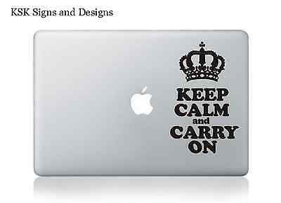 Keep Calm And Carry On decal Macbook sticker vinyl quote fits apple laptop