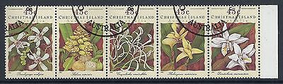 1994 Christmas Island Orchids Strip Of 5 Fine Used/cto