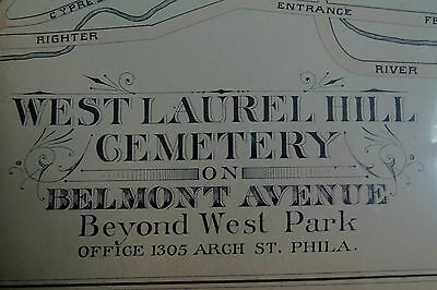 1877 MAP of WEST LAUREL HILL CEMETERY PHILADELPHIA
