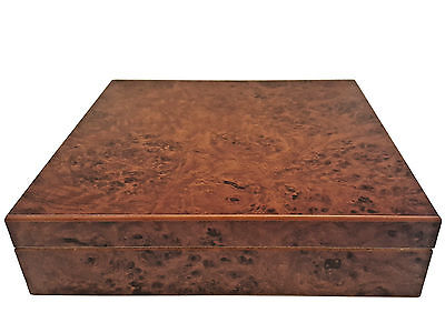 New Desktop Humidor 20 Cigar W/ Humidifier Burl Hard Wood Free S/h