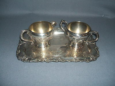 Cream & Sugar Bowl with Plater Wm. A Rogers Old English Reproduction