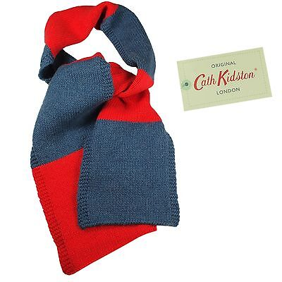 Cath Kidston Cath Kids Lambswool Scarf Block Colour Red/Blue100% authentic BNWT