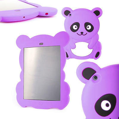 Kids Cartoon Silicon Purple Panda Case For Apple iPad Mini With Large Red Stylus