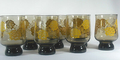 LIBBEY BROWN GLASS FOOTED TUMBLER heavy base (7) avail yellow gold flowers  EXC