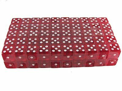 100 One Hundred 19Mm 6 Sided Red Gaming Dice Perfect For Game Poker Poker Games