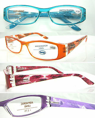 L368 Ladies Reading Glasses/Spring Hinge/Fancy Feather Design/Simple Plain Frame