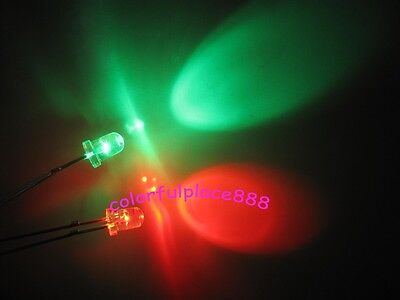 1000pcs 3mm Red Blue Bi-Color Self Flash Flashing Water Clear Bright LED New