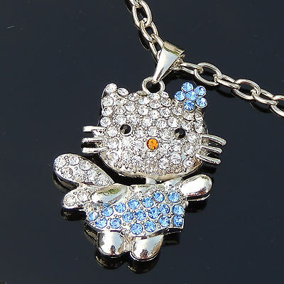 Blue Sparkle Crystal Angel Hello Kitty Charm Pendant Bling Rhinestone Necklace