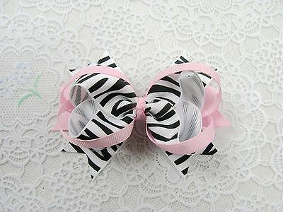 12 baby zebra custom boutique  hair bows clip 4 inch(181-192)