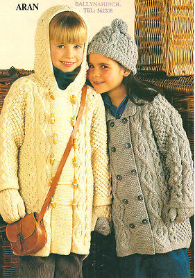 "Childrens Baby Aran Duffle Coat Jacket Hat & Mitts ~ 20"" - 30""  Knitting Pattern"
