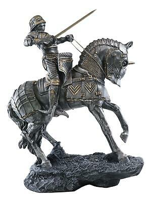 Medieval Knight Armored Heavy Cavalry Charging Enemy Figurine Statue Silverlike