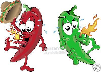 """Pepper Hot Red Green 14"""" Decal Mexican Restaurant Concession Food Truck Menu"""