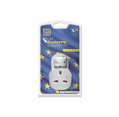 GO Travel UK EU 3 Pins Power Plug Adapter Adaptor Twin Pack Bangladesh Tunisia