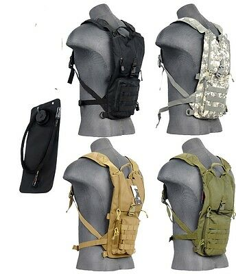 Lancer Tactical Light Weight Hydration Pack With Bladder Black Tan ACU OD Green