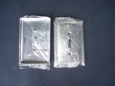 Lot of 4 Quality NOS Pass and Seymour SO1-N Lined Smooth Metal Jumbo Wall Plates