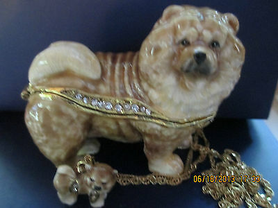 Champion Chow Chow~ Jeweled Enamel Trinket Box & Matching Necklace #62677