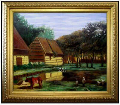 Framed, Claude Monet Zaandam Repro, Hand Painted Oil Painting 20x24in