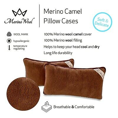 TWO CAMEL 100% Merino Wool Pillows 45 x 75 cm zipped cover WOOLMARKED GIFT