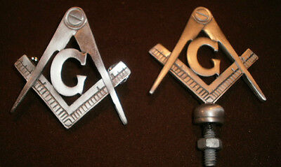 "freemasons ""G"" hood ornament with vest pin, compass and square, masonic biker"