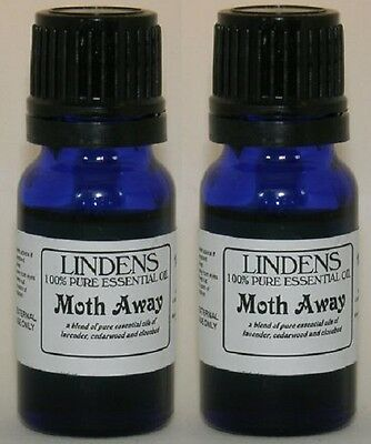2 x Moth Repellent Essential Oils 10ml 100% natural Lavender Cedar Wood Clovebud