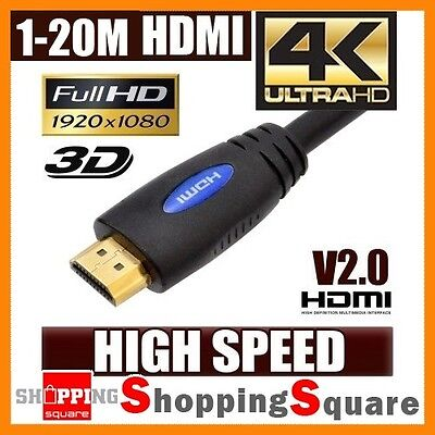 1m 1.5m 1.8m 2m 3m 4m 5m 10m 15m 20m HDMI Cable v2.0 4K 3D High Speed  Ethernet