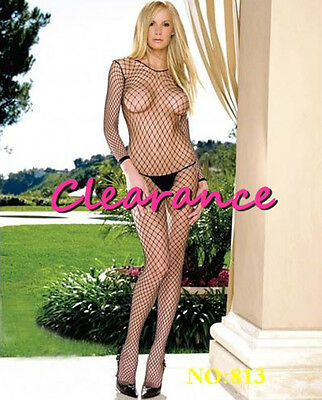 Long Sleeves Fishnet Sheer Bodystocking Crotchless Lingerie Black Red