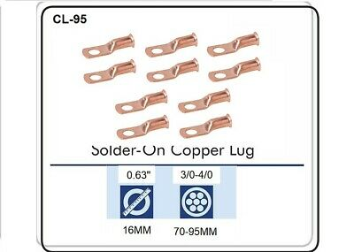 CABLE LUGS T-3040 CRIMP / SOLDER TYPE CABLE SIZE 3/0 & 4/0, Pack of 10 CL-95