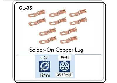 CABLE LUGS T-62 CRIMP / SOLDER TYPE CABLE SIZE 6 THRU 2, Pack of 10 CL-35