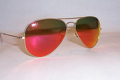 5035e652b01 NEW RAY BAN AVIATOR Sunglasses 3025 112 69 GOLD ORANGE MIRROR 58MM AUTHENTIC