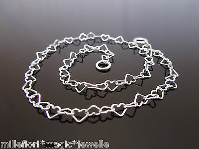 """FINE 4mm x 3mm 925 Sterling Silver Heart Link Ankle Chain Anklet 9"""" 9.5"""" 10"""" etc"""