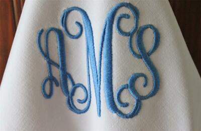 Vintage French Linen Monogram Initial Personalised Embroidered Napkin Serviette