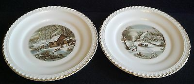 HARKERWARE CURRIER & IVES  PLATES SET OF 2 WHITE WITH GOLD TRIM  Harker